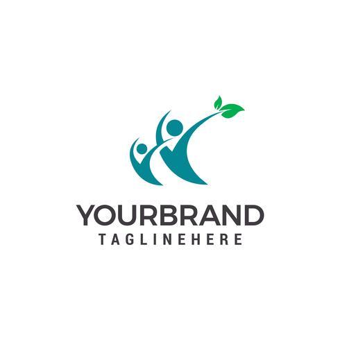 Menschen Gesundheit Logo. Menschliches Blattcharakter Logo entwirft Schablonenvektor vektor