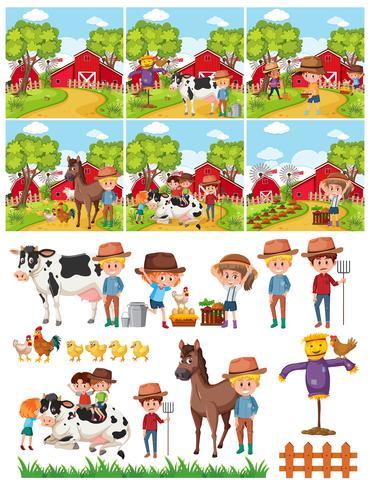 Satz des Landwirts in der Landschaft vektor