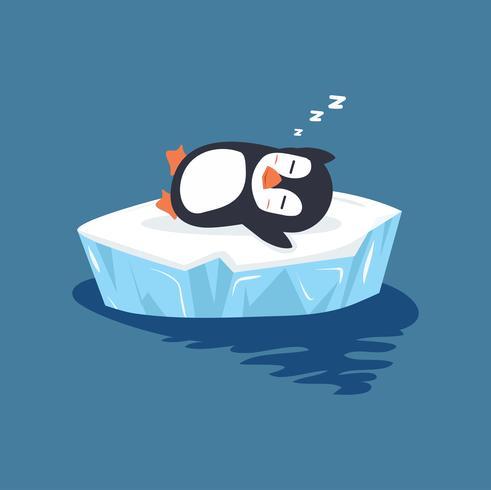 pingvin sover på is floe vektor
