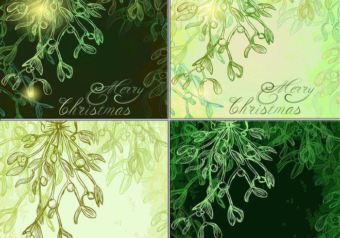 Glödande Mistletoe Vector Bakgrunder Pack