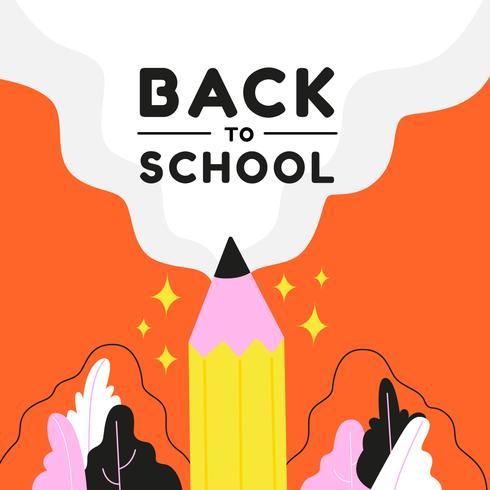 Zurück zu Schule mit Bleistift und Blättern vektor