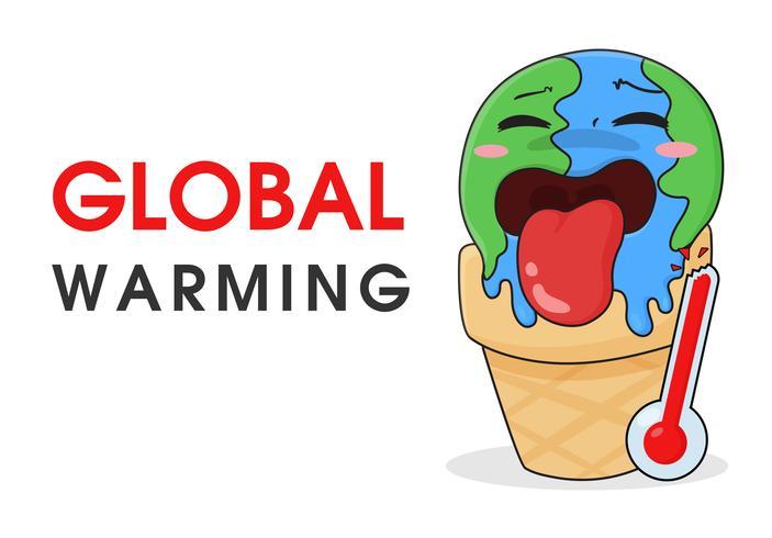 Global uppvärmning som glass som smälter på grund av höga temperaturer. vektor