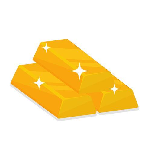 Goldbarren, die funkelndes Lichtisolat auf weißem Hintergrund schaffen. vektor