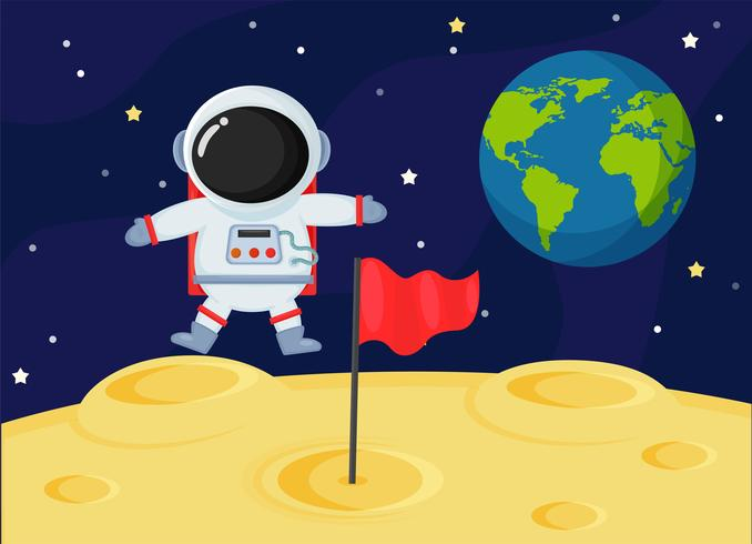 Niedliche Cartoonraumastronauten erforschen die Mondoberfläche der Erde. vektor
