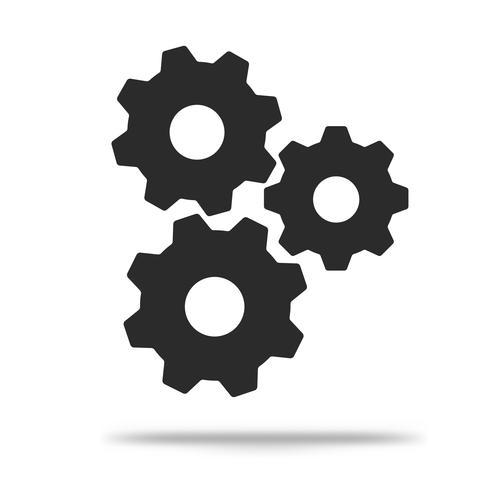 Flat gear icon Enkel, modern look Isolerad på en vit bakgrund. vektor