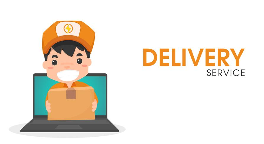 Online leverans personal via dator. vektor
