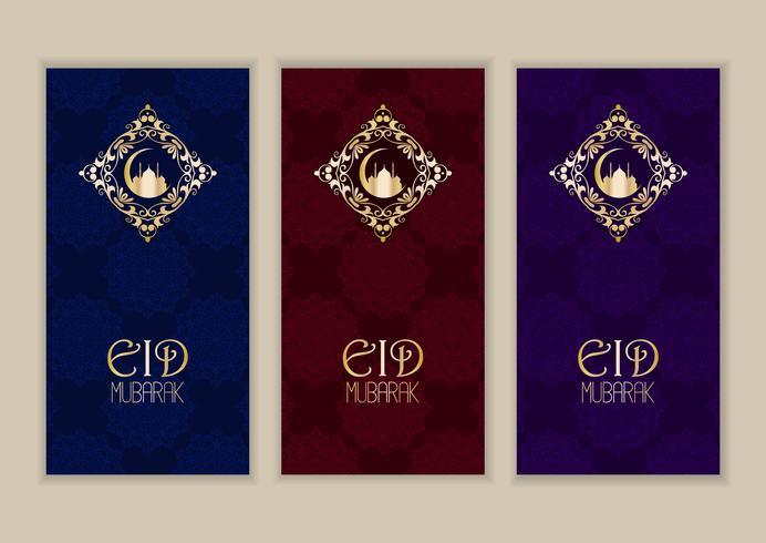 Elegant bannersamling för Eid Mubarak vektor
