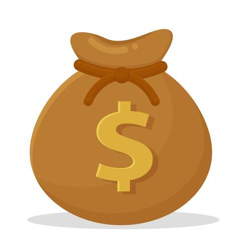 Geldsäcke auf Banknoten und Dollarmünzen platziert. vektor