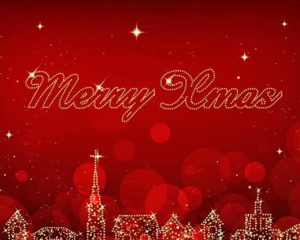City Lights Christmas Vector Bakgrund