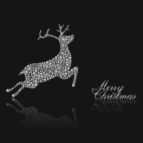 Diamond Studded Reindeer Jul Vektor Bakgrund