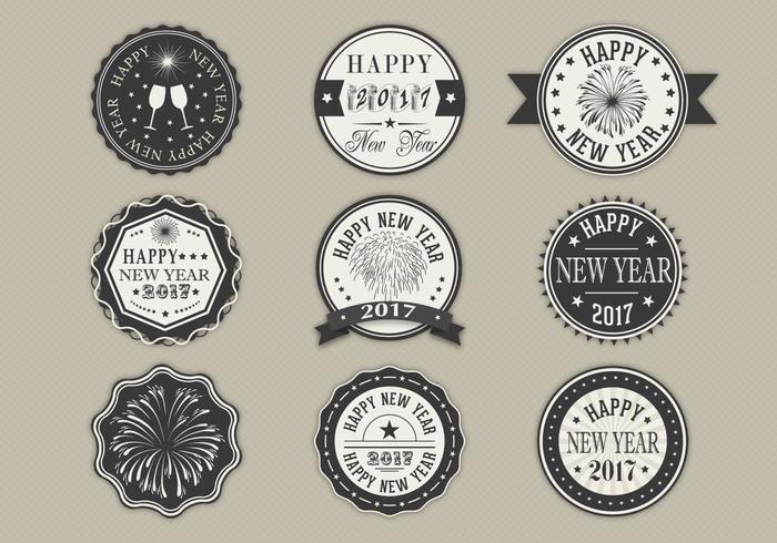 Glückliches neues Jahr-Aufkleber-vektor-Satz vektor