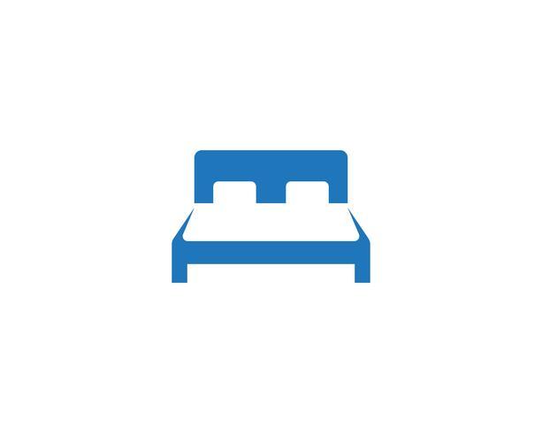 Sänglogo och symbolhotell företagslogotyp vektor
