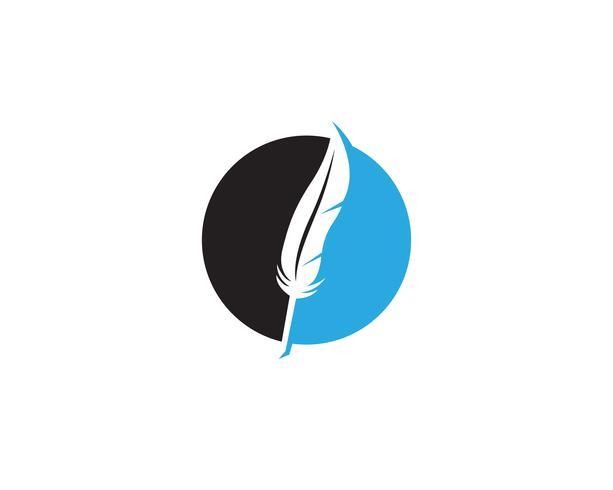 Fjäderpenn skrivskylt logo mall app vektor