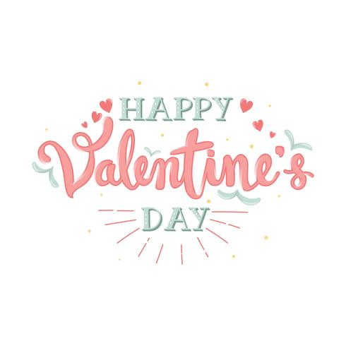 Handdragen Happy Valentine's Day Calligraphy Lettering With Banner - Vektorillustration vektor