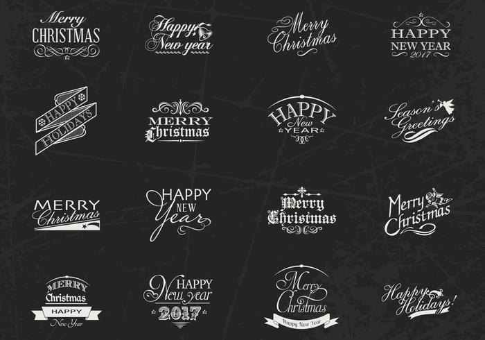 Chalk Drawn Weihnachten und Neujahr Label Vector Pack