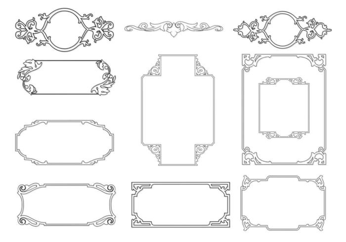 Umrissener Ornamentrahmen Vector Pack