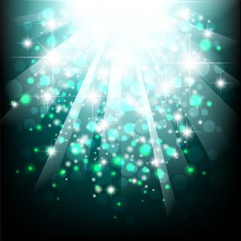 Blått solljus spränger. Blå bakgrund med bokeh lampor. vektor