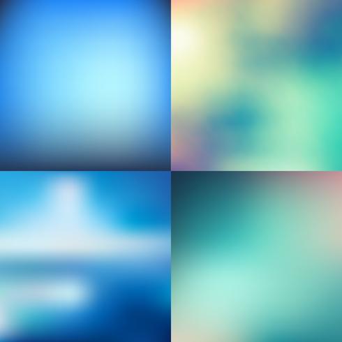 Set av abstrakta färgglada blå suddig vektor bakgrunder