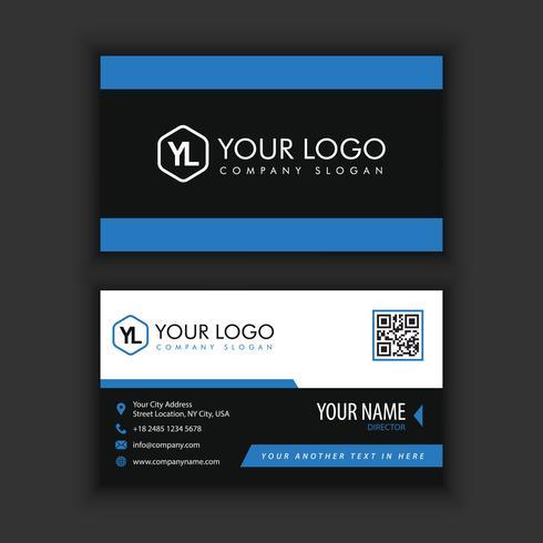 Modernt kreativt och rent visitkort med blå svart vektor