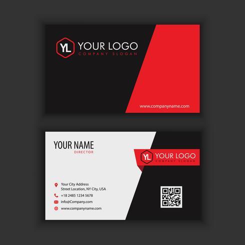 Modern kreativ och ren visitkort mall med röd svart vektor