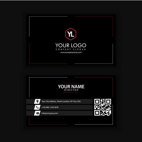 Modernt kreativt och rent visitkort med röd svart färg vektor