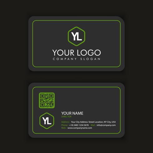 Modern kreativ och ren visitkort mall med grön färg vektor