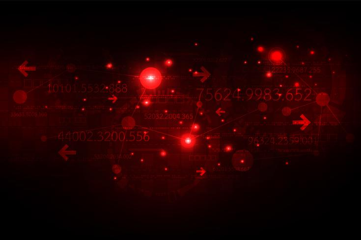 Digitales Kommunikationsnetz auf einem dunkelroten Hintergrund. vektor