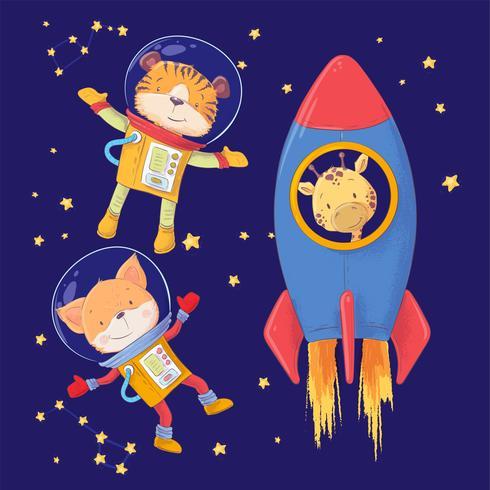 Gullig tecknad illustration som visar djur astronauter tiger räv och giraff stil handritning. vektor