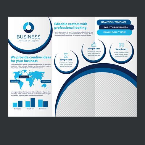 Blaue dreifachgefaltete Geschäftsbroschüre vektor