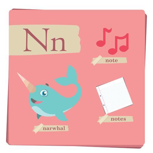 Buntes Alphabet für Kinder - Buchstabe N vektor