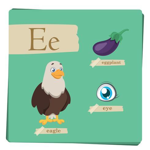 Buntes Alphabet für Kinder - Buchstabe E vektor