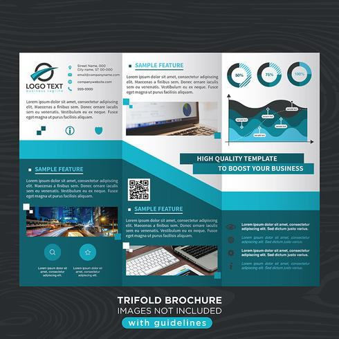 Blue Trifold Business Fold Broschyr vektor
