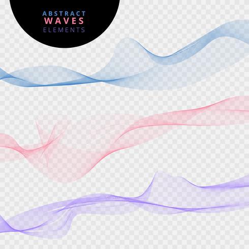 Satz abstrakte Linien bewegt auf transparenten Hintergrund wellenartig. vektor