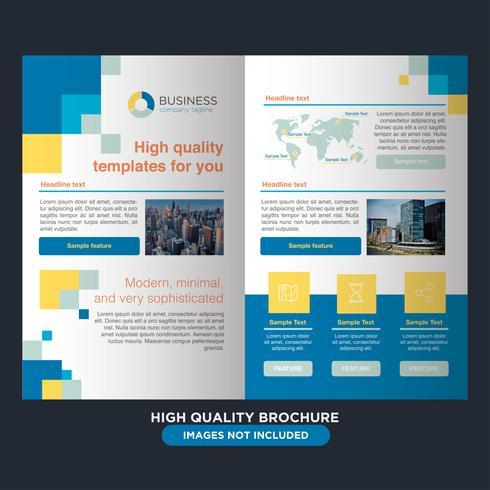 blå gul företags fold broschyr vektor