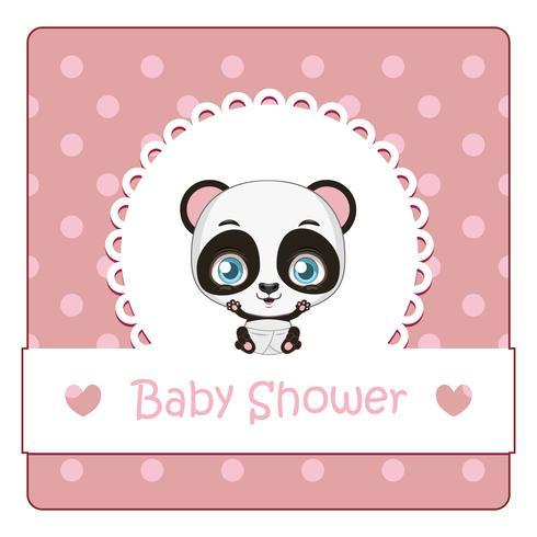 Baby shower kort med söt liten panda vektor