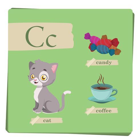 Färgrikt alfabet för barn - Brev C vektor
