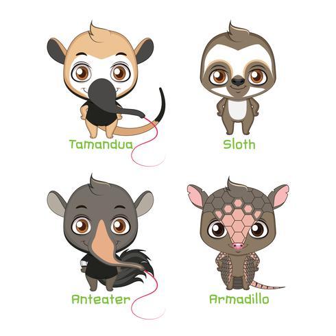Sats av djur som tillhör xenarthra-familjen vektor