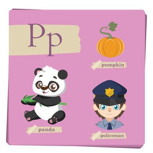 Buntes Alphabet für Kinder - Buchstabe P vektor