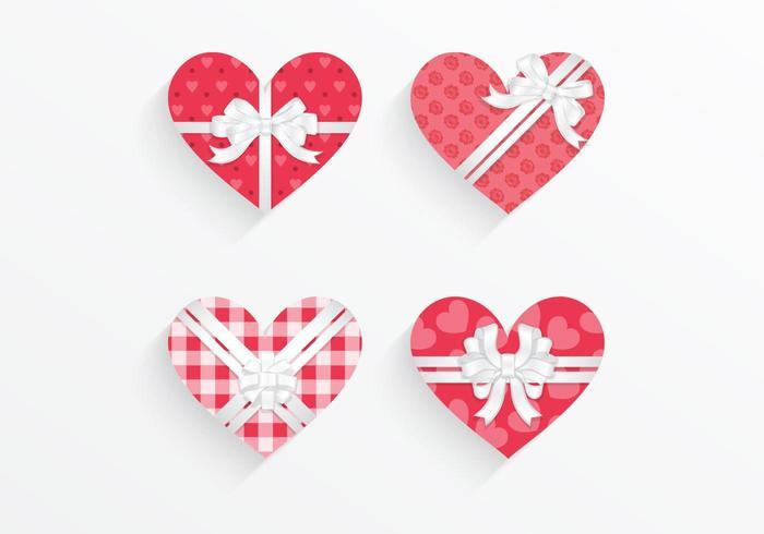 Gemusterte Herz Geschenkbox Vector Pack