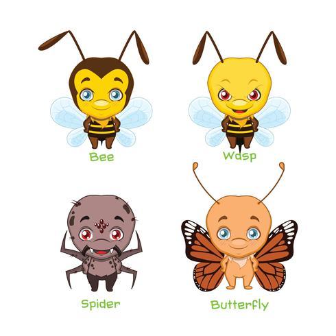 Sats av olika insekter vektor