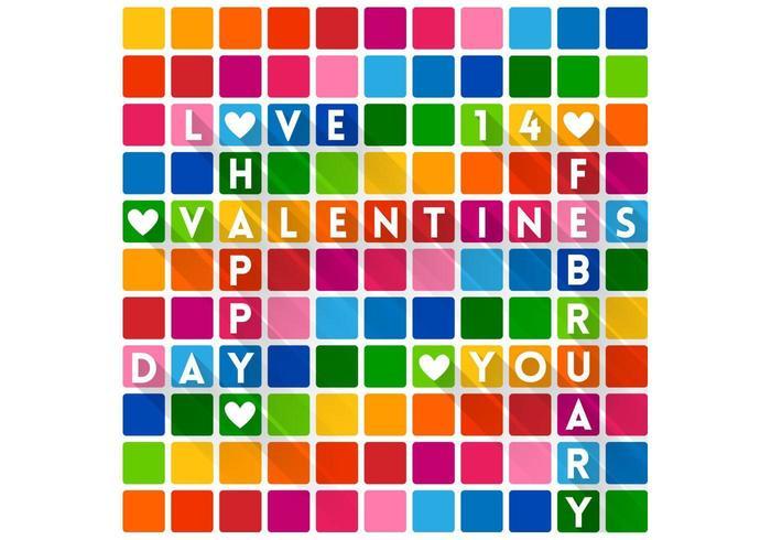 Bunte Kreuzworträtsel Valentinstag Hintergrund Vektor