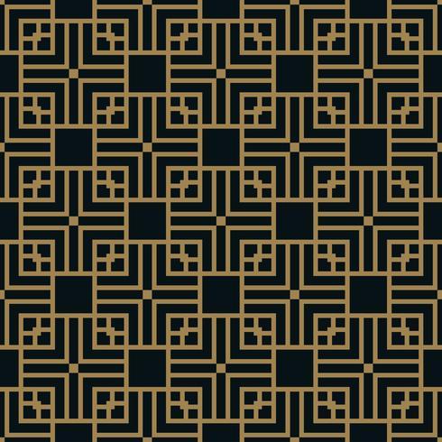Abstrakt kvadratisk geometriskt mönster med linjer. sömlös vektor guld bakgrund.