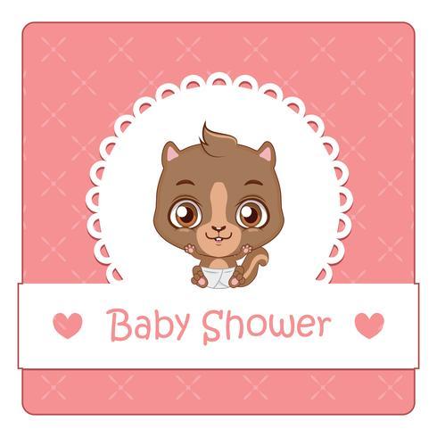Baby shower kort med söt ekorre vektor