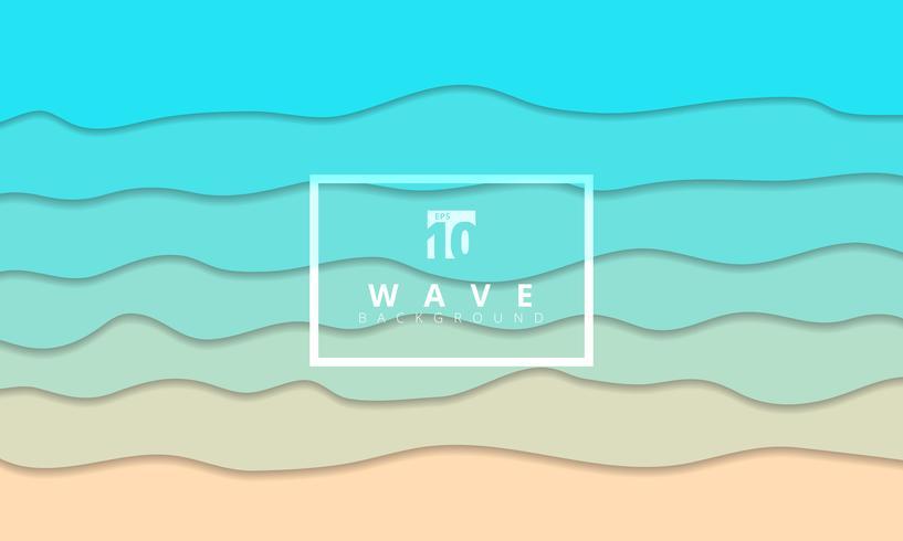 Seeküste-Hintergrundpapier-Schnittart der abstrakten Sommerwelle blaue. vektor