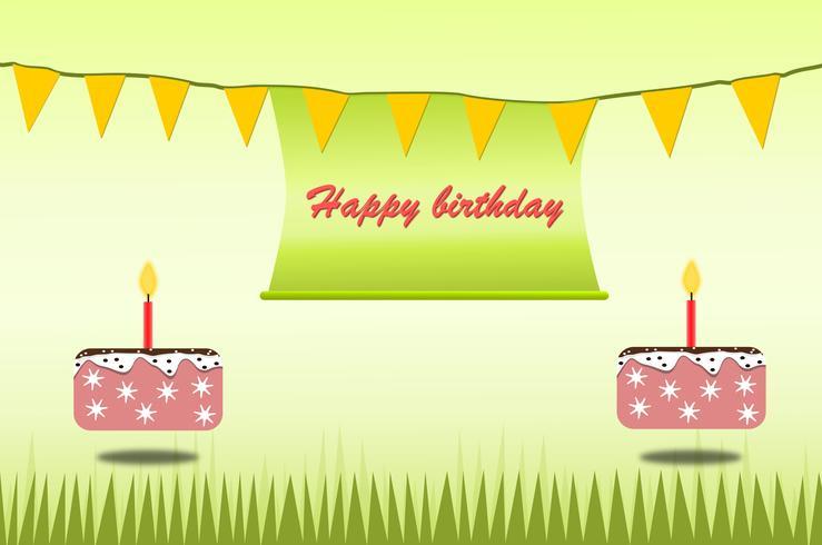 Alles- Gute zum Geburtstagplakatkartenthemagrün und -kuchen für Kinder entwerfen Vektor und Illustration.