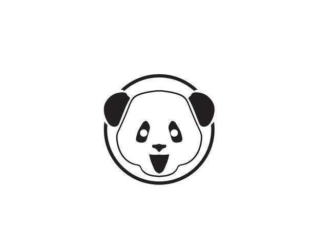 panda logo svart och vitt huvud vektor