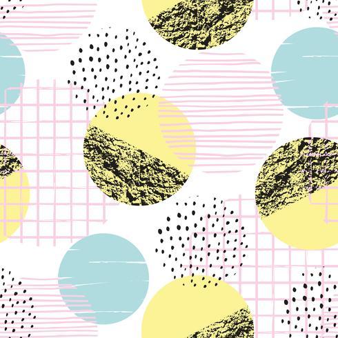 Abstrakt geometrisk sömlös mönster med handdragen texturer. vektor