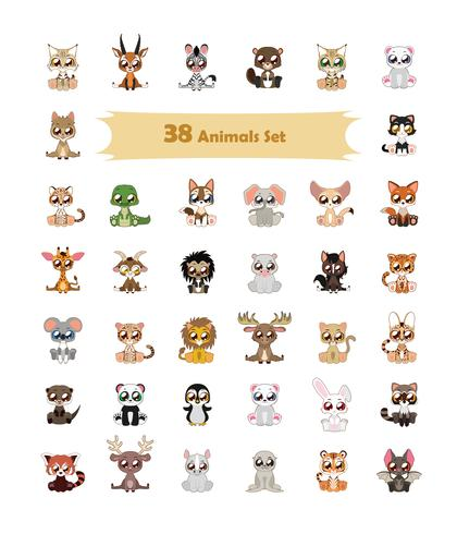 38 Bunte Tierillustration vektor