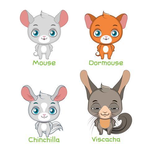 Set av möss och chinchilla art illustrationer vektor