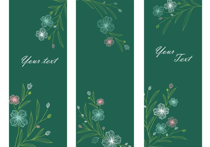 Smaragd-Blumen-Banner-Vektor-Pack vektor